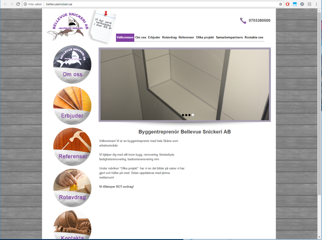 Gammal snickeri hemsida exempel